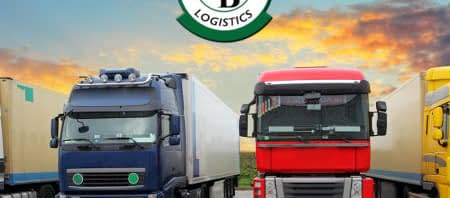 logistics company row of trucks